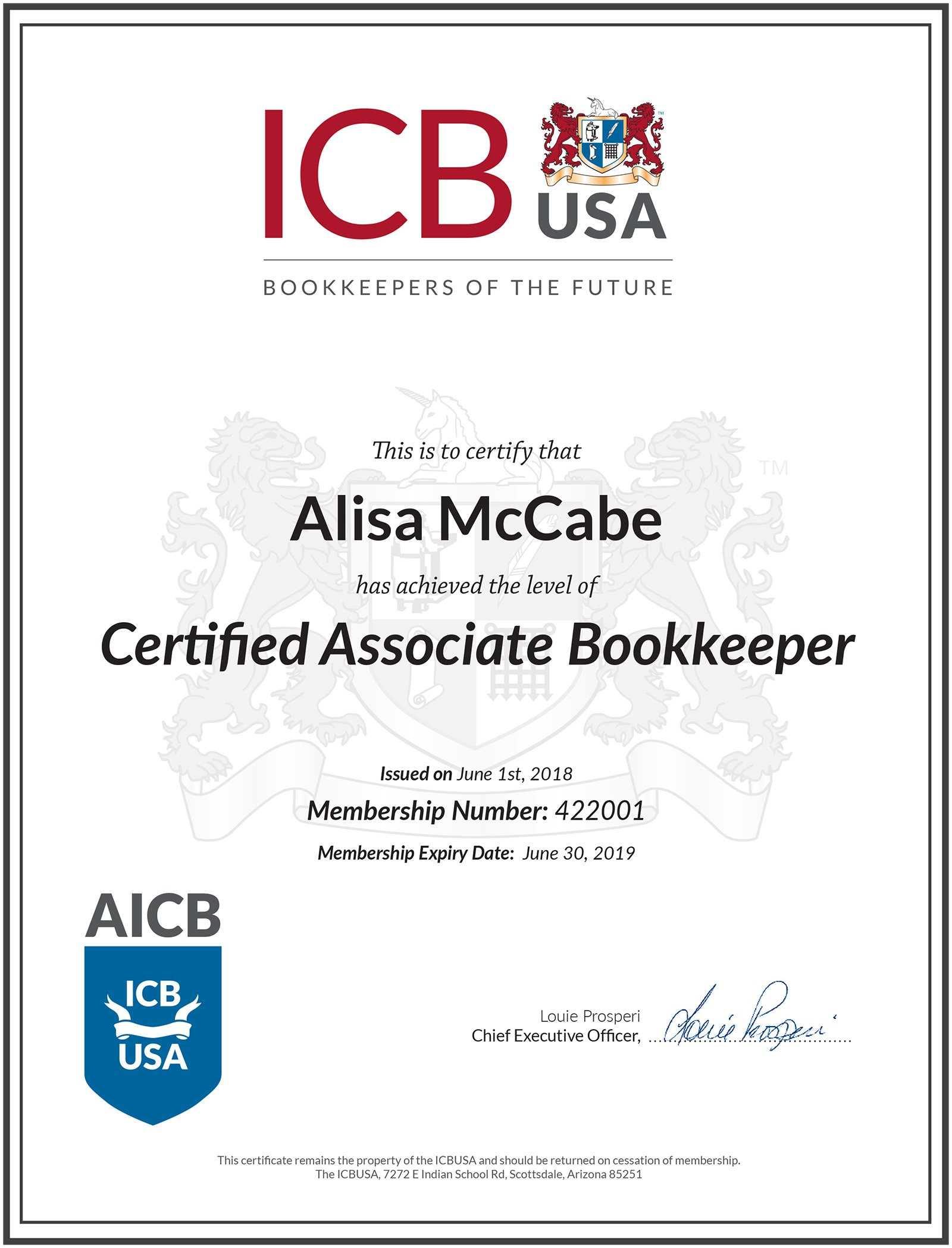 This is to certify that Alisa McCabe has achieved the level of Certified Associate Bookkeeper
